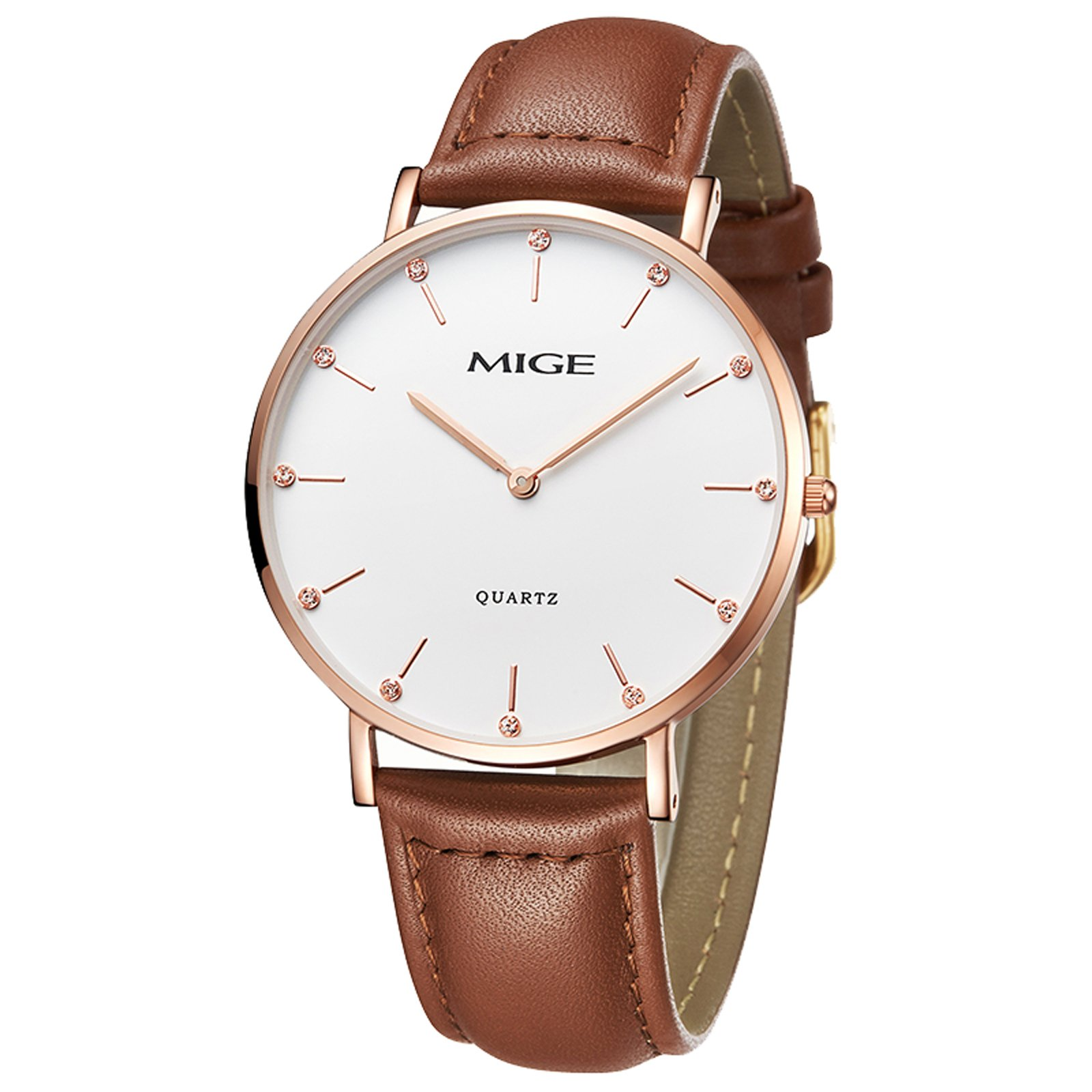 MIGE Watches-ZLIMSN Men Casual Business Thin Full Genuine Leather With Gift Box Male Wrist Quartz Watch