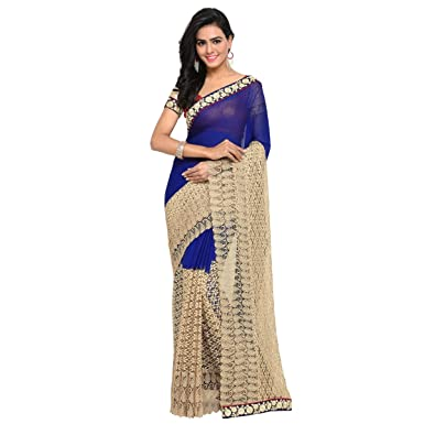 9820235d09 Aagaman Fashions Indian Women's Blue Chiffon Embroidered Saree, Sari ...