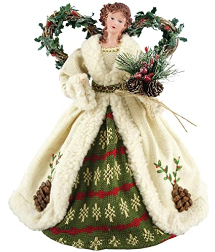 "Santa's Workshop Pine Cone Angel Tree Topper, 16"" Tall, White/Green/Red best Christmas tree topper"