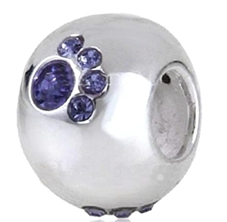 Bola con perros huellas de brillantes - Azul - 100% plata de ...