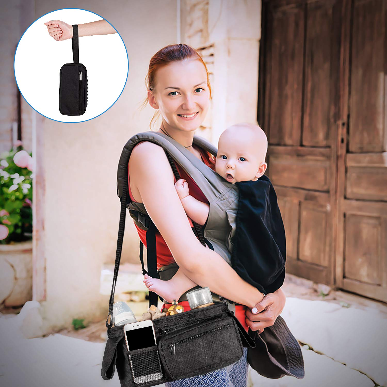 Britax for Carrying iPhone Baby Jogger Universal Stroller Organizer with Cup Holders Black Toys /& Snacks Fits Uppababy Lupantte Diapers Bag with Shoulder Strap Bugaboo and BOB Stroller.