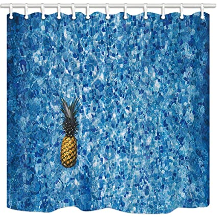 SZZWY Tropical Fruit Shower Curtain Pineapple In Swimming Pool Grid Tile Decor Art Bathroom Mildew Resistant