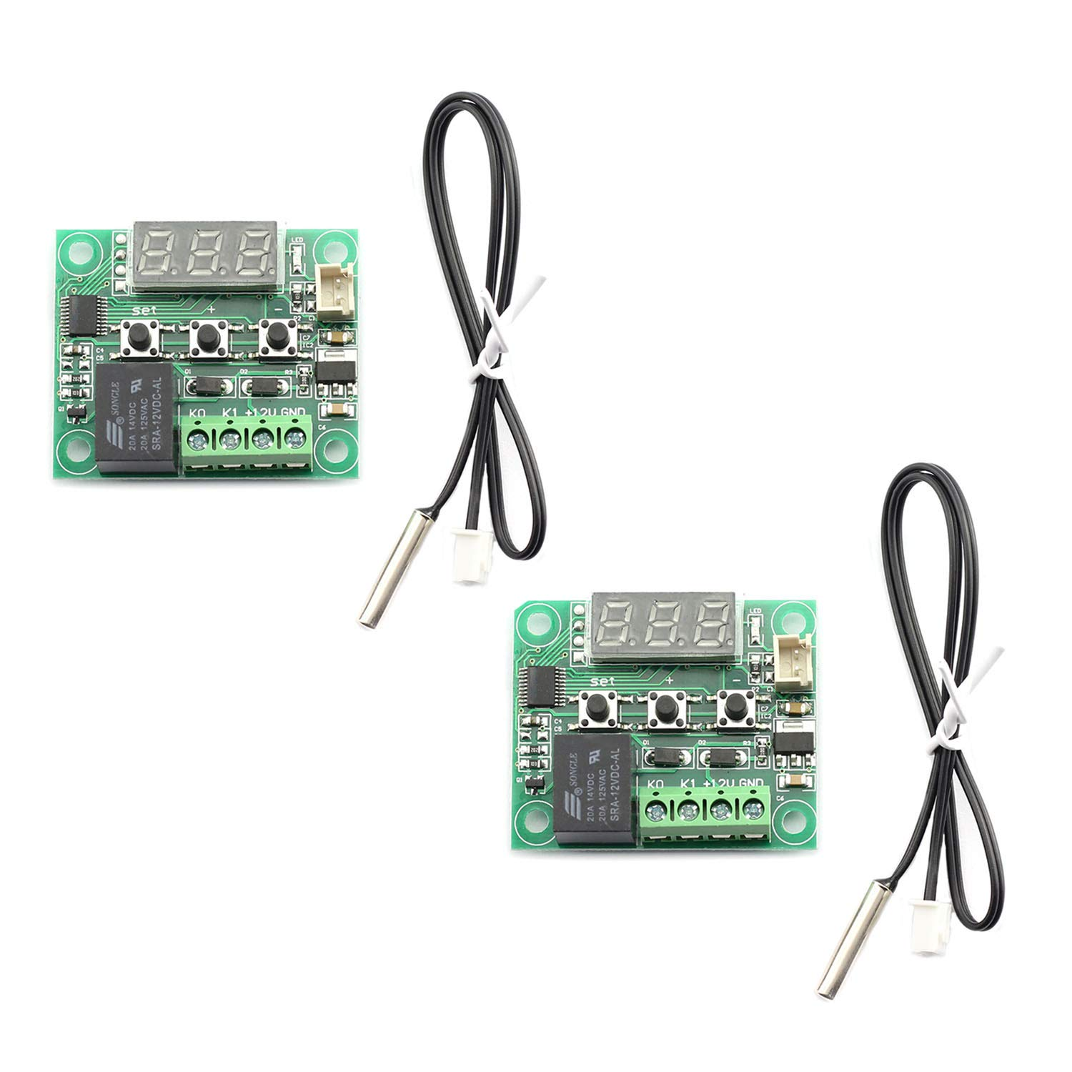 Maxmoral 2-Pack XH-W1209 Digital Thermostat Temperature Controller High Precision Micro Temperature Control Switch Board with LED Display