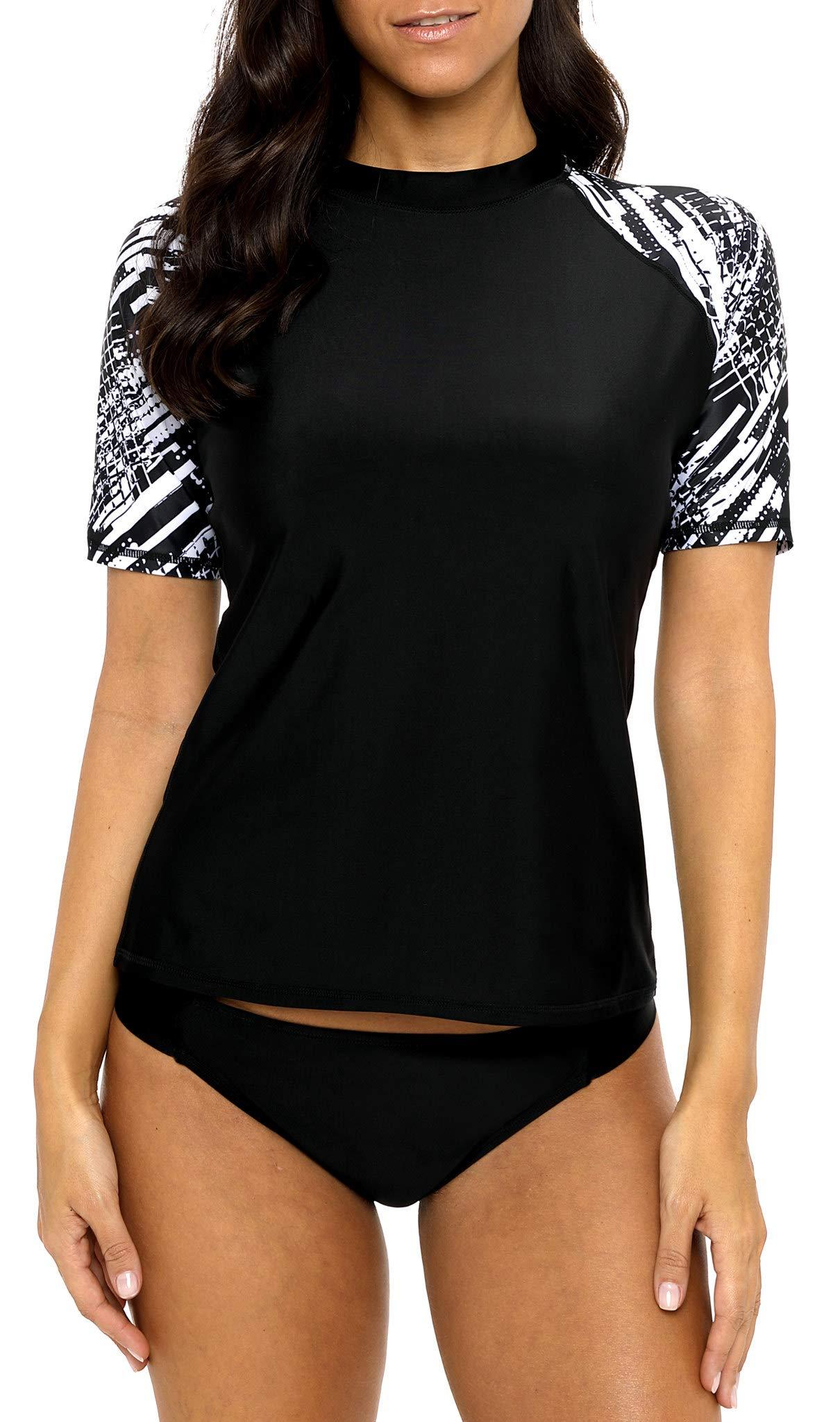 beautyin Women Short Sleeve Rash Guard Sun Protection Surfing Shirt Swimwear 2XL by beautyin