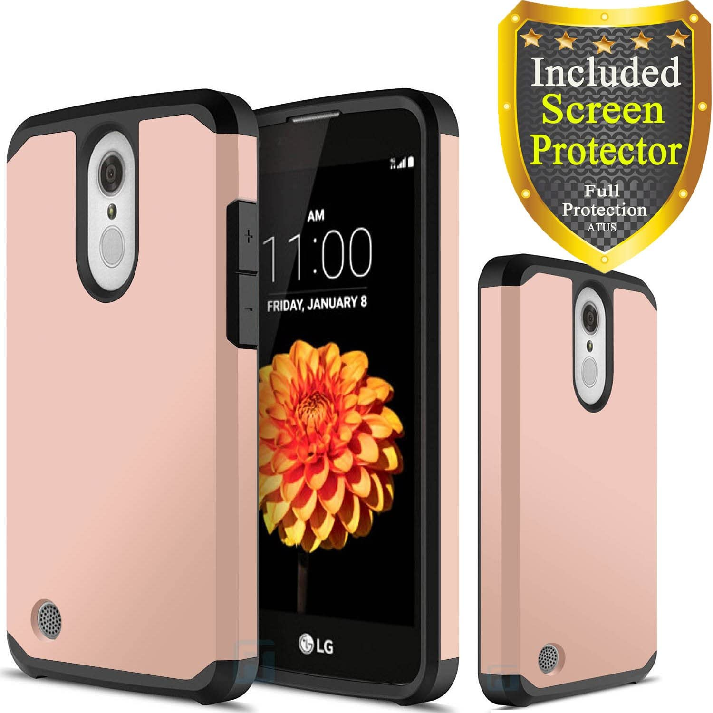 LG Aristo 3/ Tribute Empire/Aristo 2/Aristo 2 Plus/Zone 4/Tribute Dynasty/Phoenix 3/Fortune 2/Risio 2 Case, with HD Screen Protector, ATUS Hybrid Dual Layer Protective Case (Rose Gold)