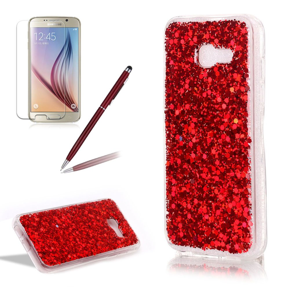 Glitter Case for Samsung Galaxy A5 2017,Girlyard Crystal Crystal Luxury Bling Shinning Design Soft TPU Ultra-thin Flexible Rubber Transparent Bumper Shockproof Resistant Protective Phone Case for Samsung Galaxy A5 2017 -Silver