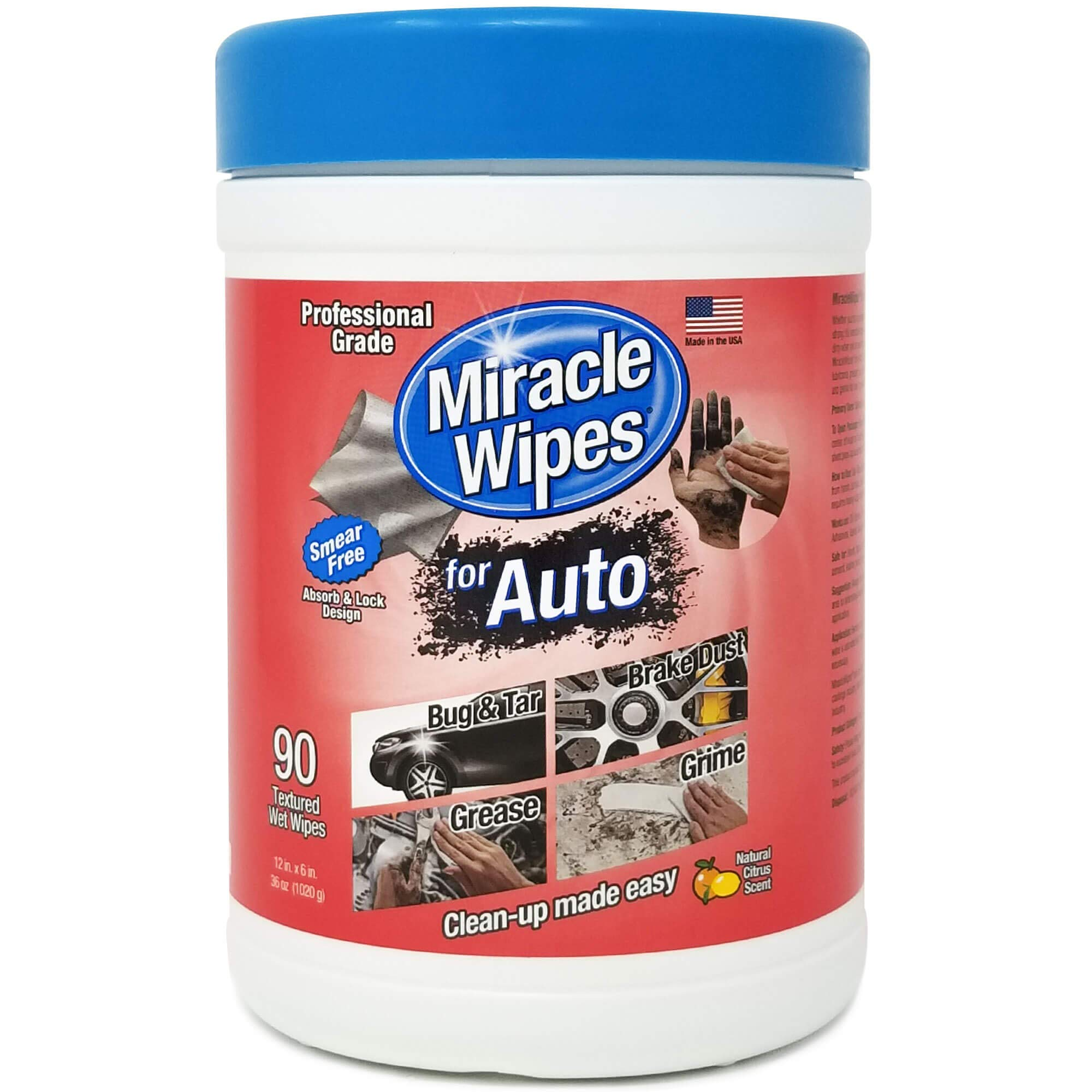 MiracleWipes for Automotive - All Purpose Cleaner, Hands, Interior, Exterior, Detailing - Removes Grease, Lubricants, Sticky Adhesives, Grime, Dirt & More - Car Cleaning Supplies - 6 Pack (90 Count) by MiracleWipes (Image #1)