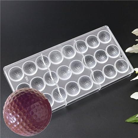 24 cavidades forma de pelota de Golf PC policarbonato moldes de chocolate para galletas Fondant eléctrica