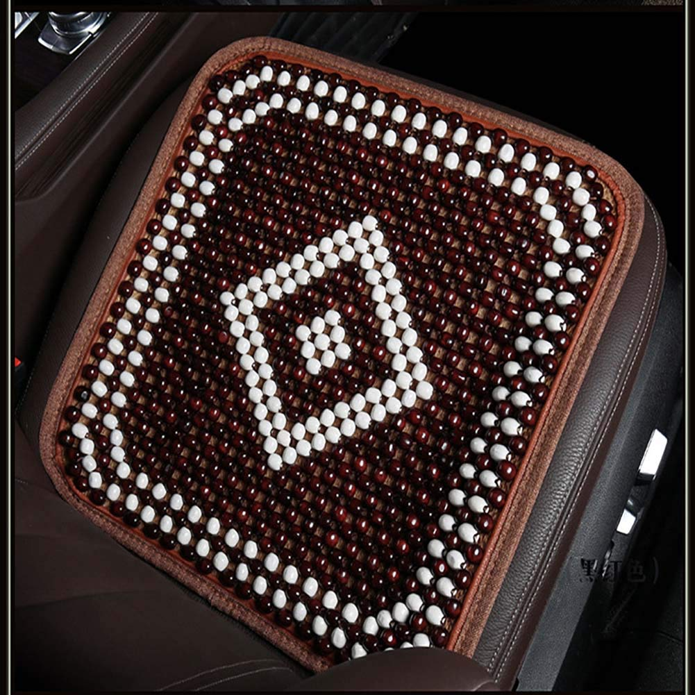 Red 1PCS Summer Office Home Environmental Predection Does Not Fade Non-Slip Breathable Simple No Backrest Wood Beads Single Car Seat Cushion