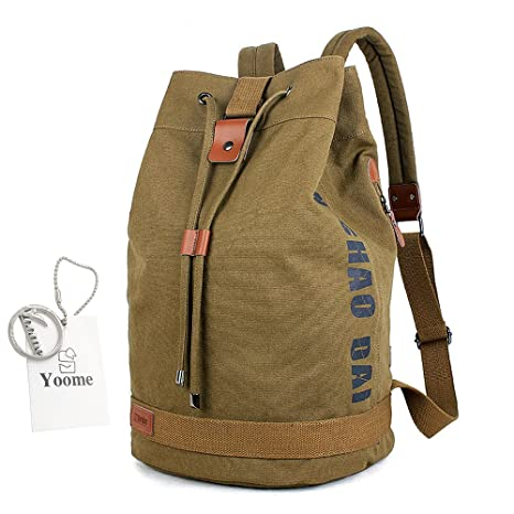 Yoome Drum Canvas Backpack with Drawstring Rucksack 15 Inch Laptop Dayback  Travel College Sports Bags for e7bb361f0b4a8