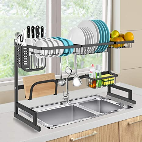 Over The Sink Dish Drying Rack.Dish Drying Rack Over Sink Habilife Kitchen Hanging Drying Dish Supplies Storage Shelf Utensils Holder Stainless Steel Display Countertop Space Saver
