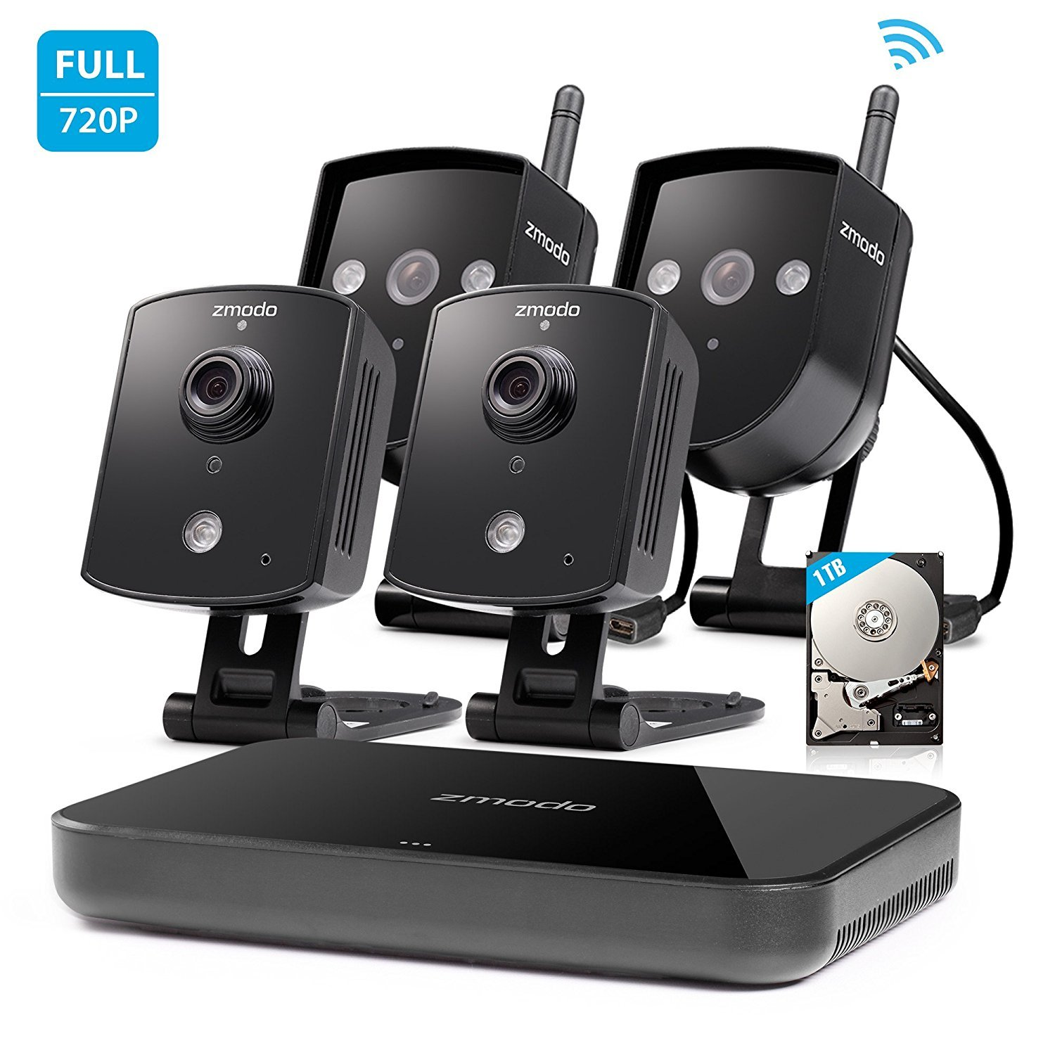 Zmodo Replay 4CH 720P 1TB Wireless Home Surveillance Security Camera System - 2 Outdoor & 2 Indoor IP Network Camera 4 Channel NVR 1TB Hard Drive