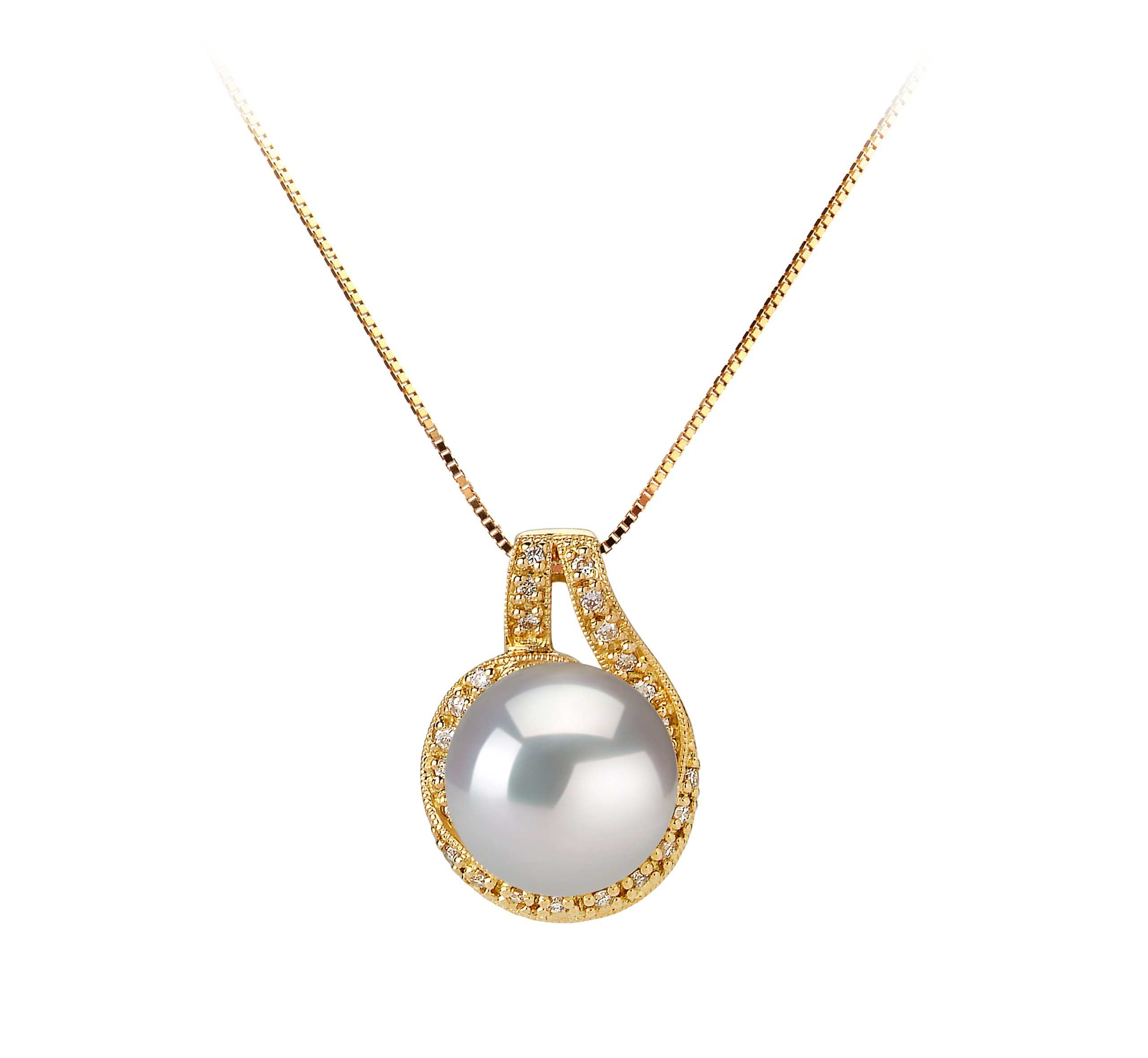 Angelique White 10-11mm AAA Quality South Sea 14K Yellow Gold Cultured Pearl Pendant For Women