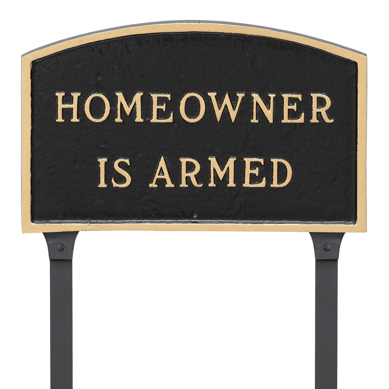 Montague Metal Products 13'' x 21'' Arch Homeowner is Armed Statement Plaque with 23'' Lawn Stake, Black/Gold