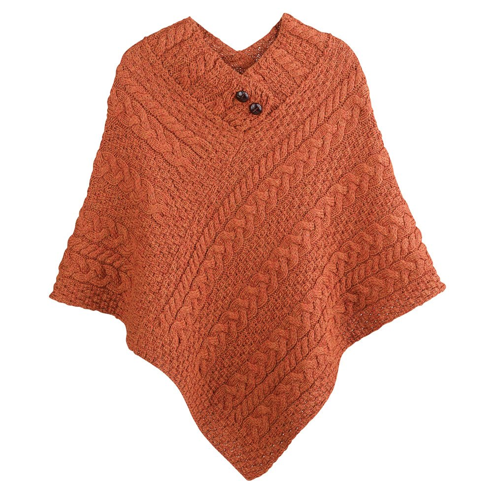 Women's Aran Island Poncho - 100% Merino Wool Cable Knit Sweater - Pumpkin