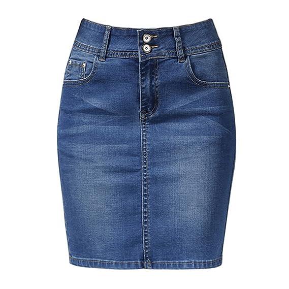 Mujer Faldas Faldas Denim Tallas Grandes Vendaje Mini Falda Lápiz ...