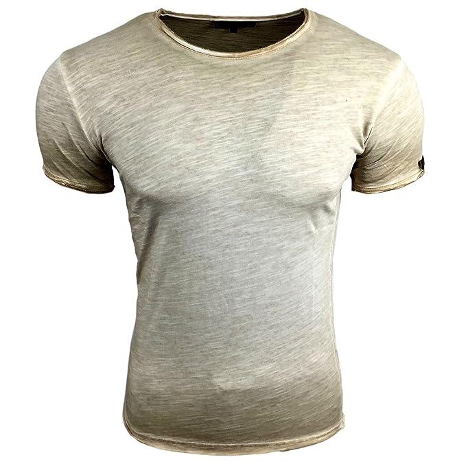 Avroni T Shirt Herren Rundhals Shirt Anthrazit Blau Grau