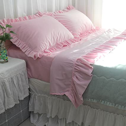 Queenu0027s House Girls Pink Ruffled Bed Sheet Sets Twin Size Flannel Sheets