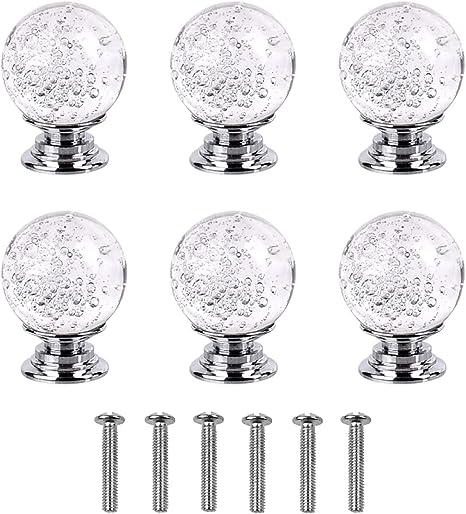 Magiin 6Pcs Pomo de Cristal Bola Manijas de Vidrio Tiradores para Muebles Gabinetes Cajones Armarios Puertas C/ómodas Casa Oficina
