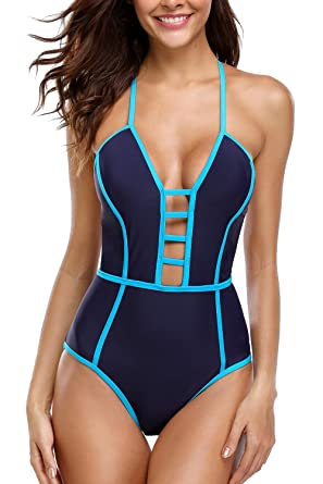 9309e34938b beautyin Backless Swimming Suit for Womens Sexy Plunge one Piece Bathing  Suit Blue