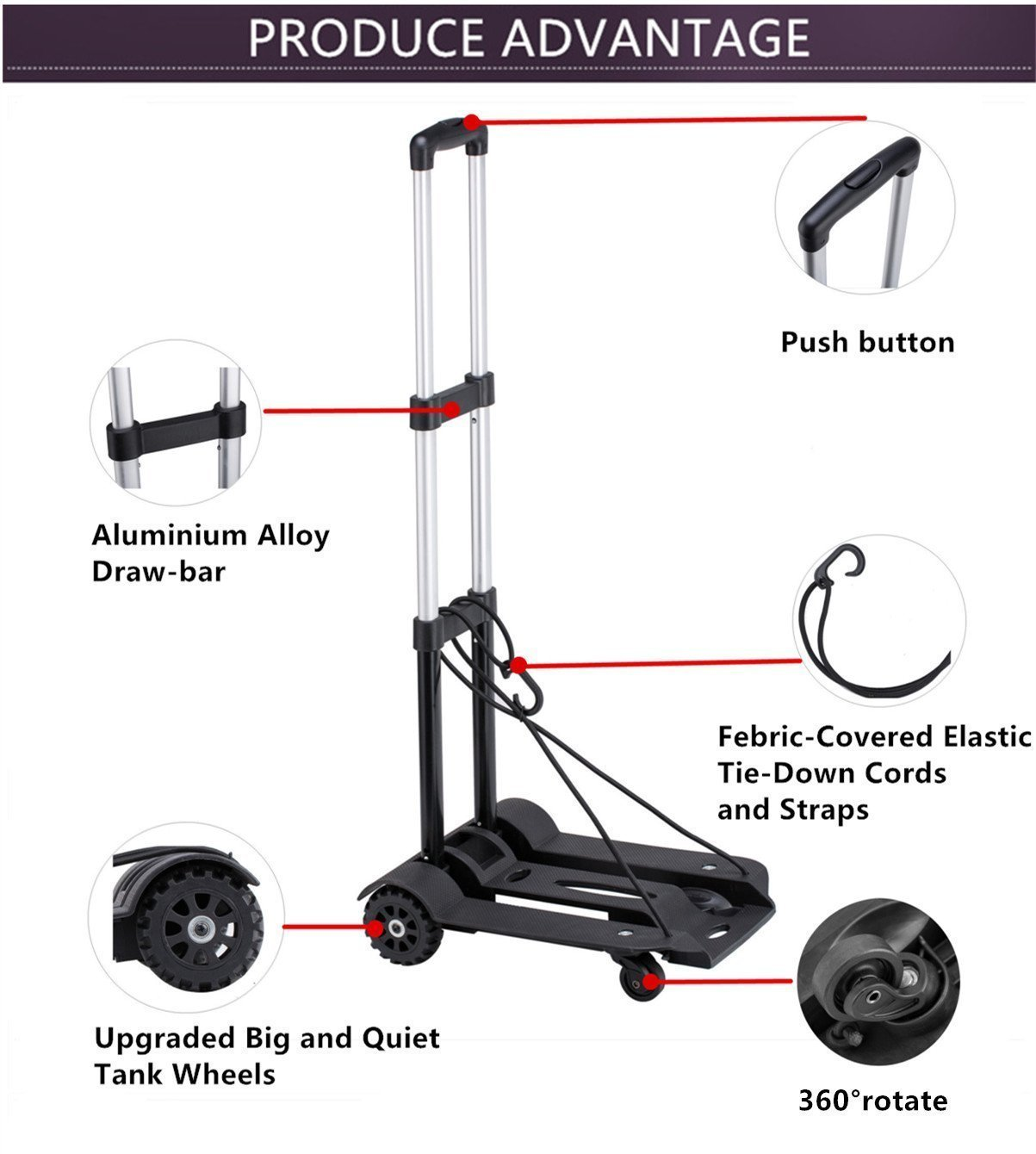 Folding Hand Truck, 75 Kg/165 lbs Heavy Duty Solid Construction Utility Cart Compact and Lightweight for Luggage, Personal, Travel, Auto, Moving and Office Use - Portable Fold Up Dolly(4 wheel-roate) by ROYI (Image #4)
