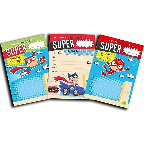 Invitaciones de superhéroe - paquete de 30 invitaciones de ...