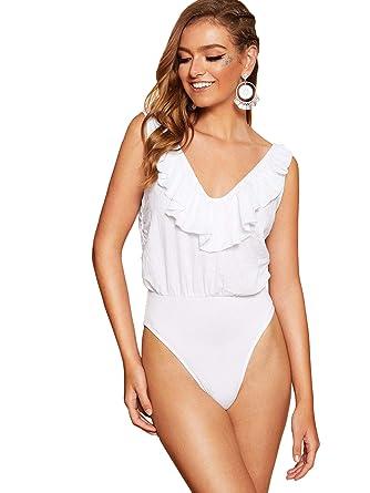6921f0fb4c9 DIDK Women's V Neck Ruffle Sleeveless Mesh Plain Basic Bodysuit