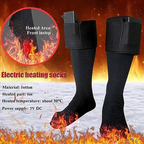 Calcetines térmicos con calefacción a pilas, calentadores de pies de invierno, calcetines térmicos cálidos