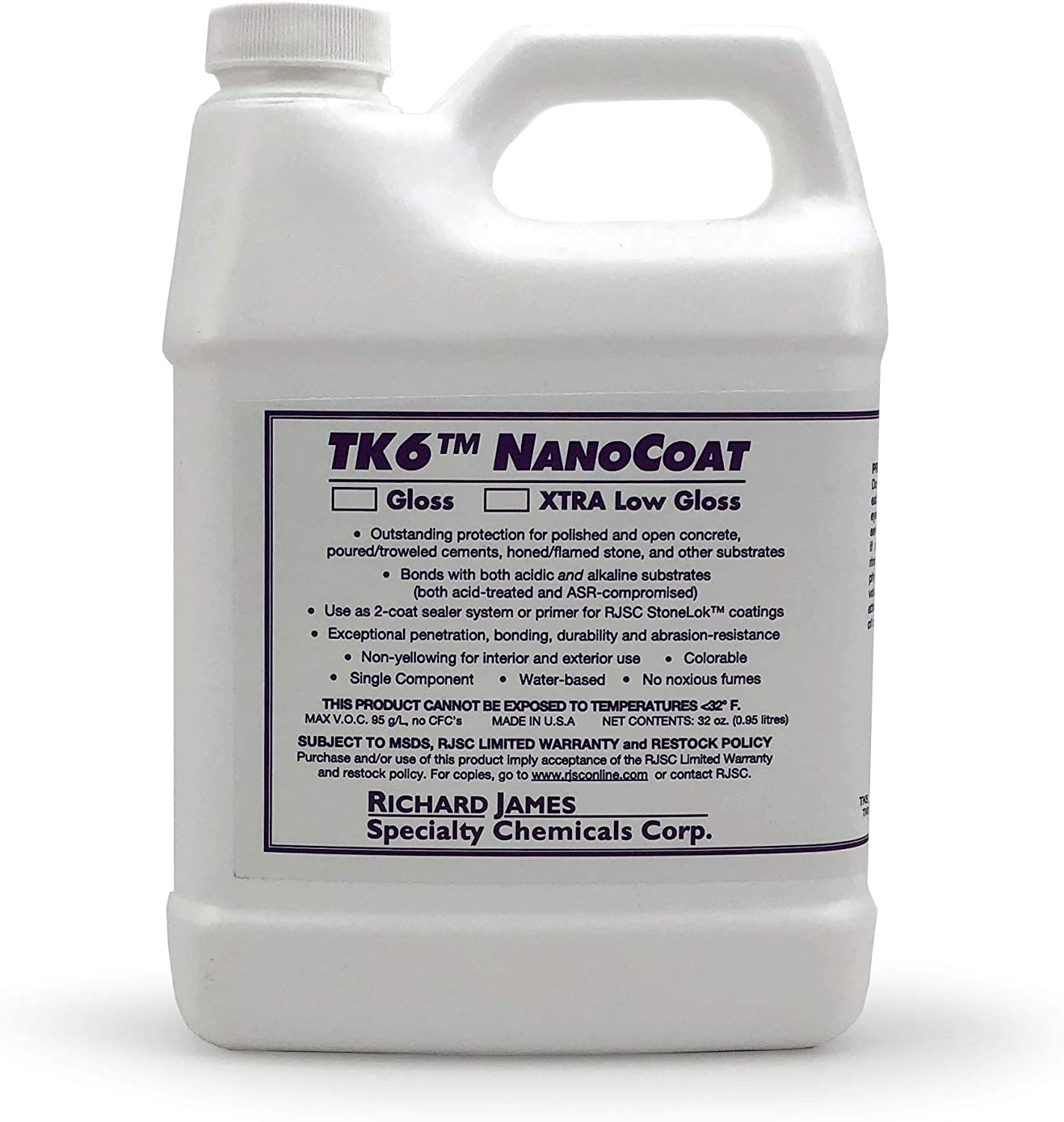 Richard James Specialty Chemical Corp. TK6 Nanocoat Concrete Countertop Sealer, 32 Ounces Quart, Extra Low Gloss, Pack of 1