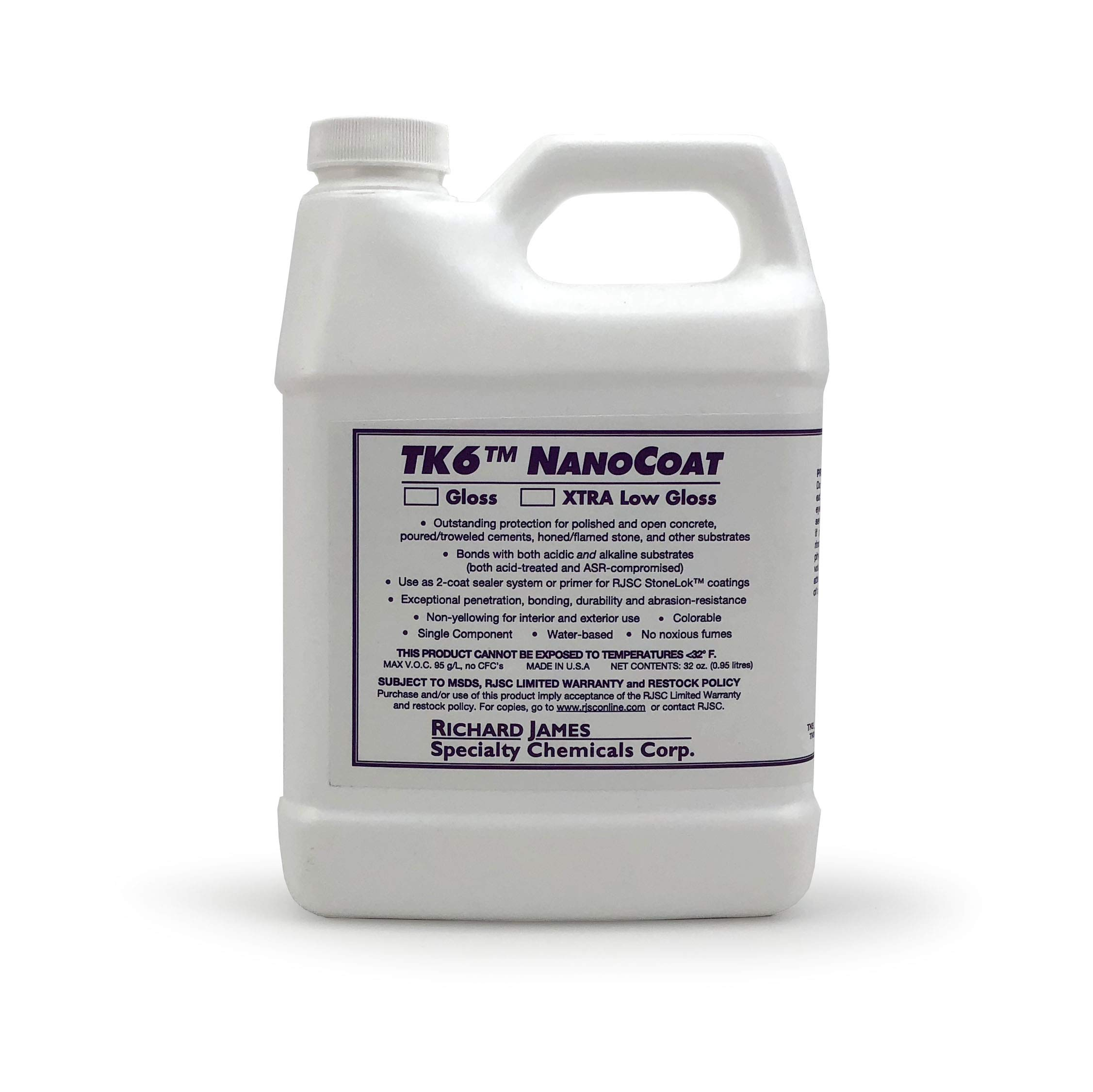 TK6 Nanocoat Concrete Countertop Sealer, 32 oz Quart, Extra Low Gloss (1)