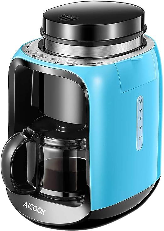 Aicook - Cafetera de filtro 2 en 1, molienda de frijol a taza y jarra de cristal, 6 tazas, mini cafetera de viaje, filtro reutilizable permanente, sistema antigoteo, 1000 W, azul: Amazon.es: Hogar