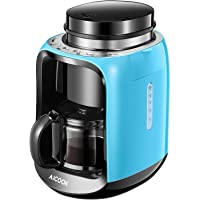 Coffee Maker, Aicook Filter Coffee Machine, Bean to Cup Coffee Makers, 6 Cup Mini Travel Coffee Maker with Coffee Grinder and Glass Carafe, Anti-Drip System, Permanent Reusable Filter, 600w, Blue