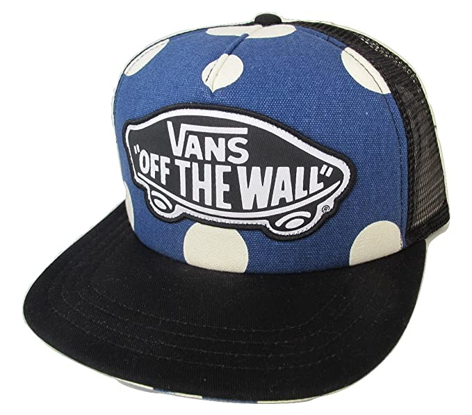 081ef25db82 Vans Off The Wall Women s Beach Girl Trucker Hat Cap - Blue Polka ...