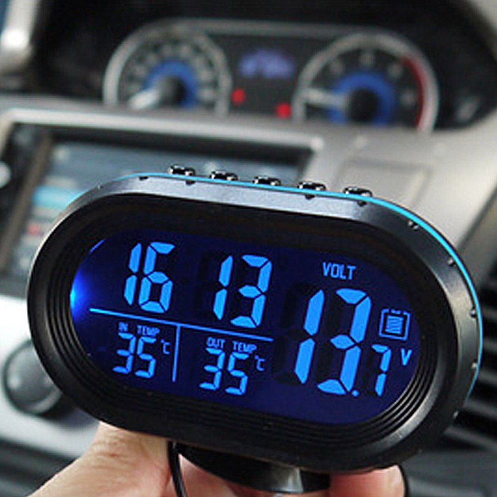 MASO 12-24V Multifunctional LCD Temperature Voltmeter Gauge Electronic Clock Alarm Monitor Car Thermometer LCD Clock