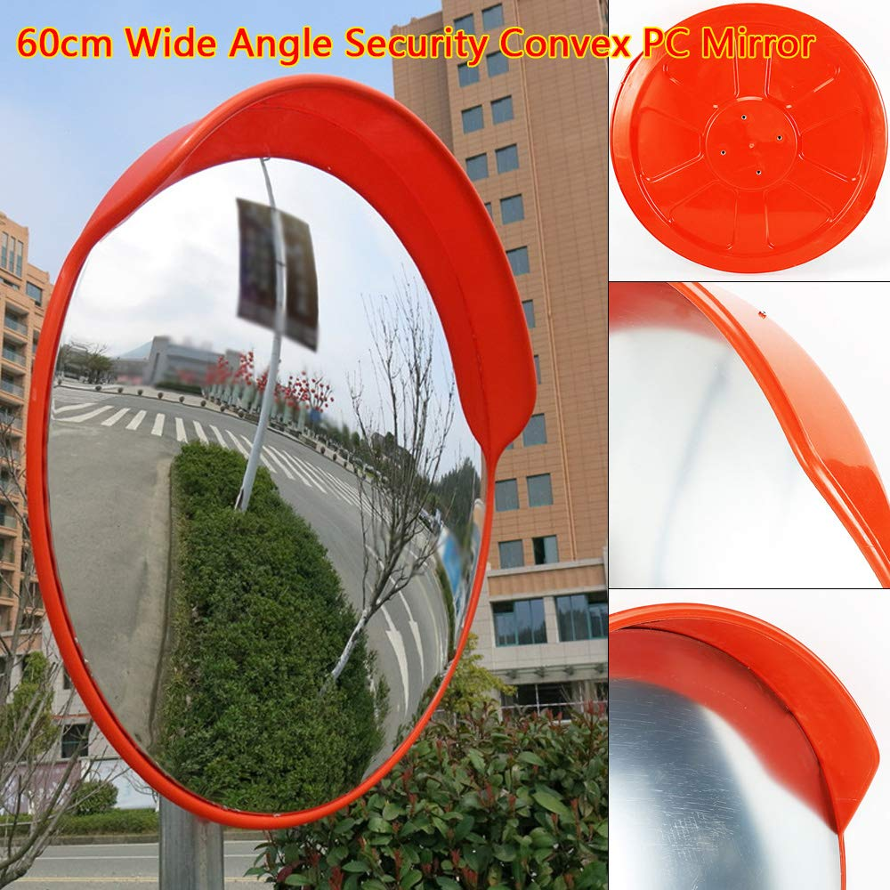 24'' Wide Angle Security Convex PC Mirror Outdoor Road Traffic Driveway Safety with Pillar Mounting Bracket Suitable for Pillar to:1 3/4''- 2 3/8'' (45~60MM) (24'')