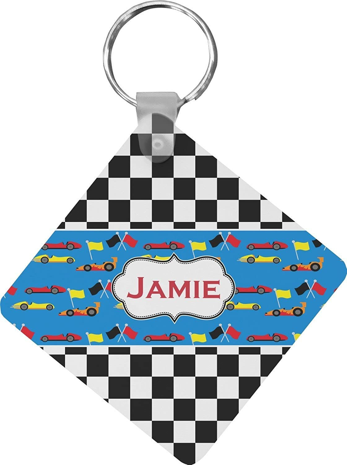 Checkers & Racecars Diamond Key Chain (Personalized)