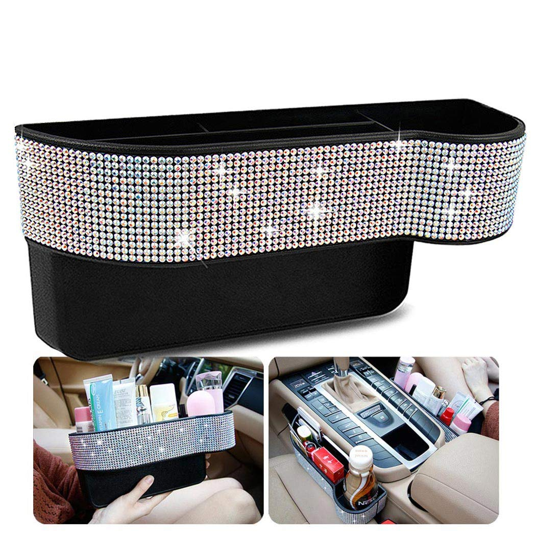 Exquisite Car Front Seat Organizer - Seat Side Storage Box Gap Filler for Ms. Aristocracy with Bling Matrix Diamond Console Mobile Phone Cards Coin Money Beverage and Cup Holder by Qimei