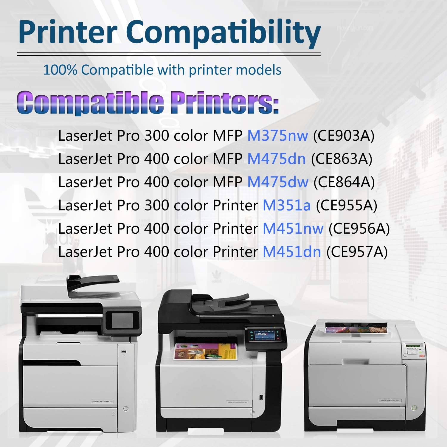 8 Pack 5BK+1C+1Y+1M High Yield Remanufactured MFP M375nw M351a M451nw M451dn M451dw MFP M475dn M475dw Printers Replacement for HP 305X CE410X CE411X CE412X CE413X Toner