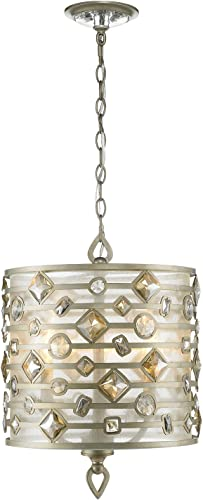 Golden Lighting 6390-3P WG Pendant with Large, Neutral Color Faceted Crystals Shades, White Gold Finish