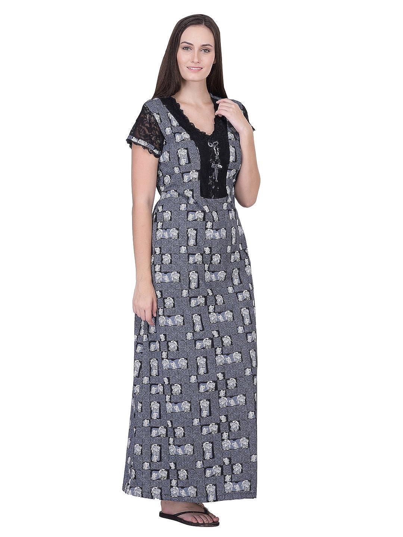 beb9458588 HoneyDew - Womens Cotton Hoisery Printed Nighty - Grey Color