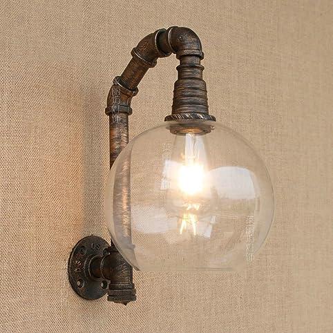 E27 industriel style rétro lambris en fer forgé applique murale lampe en verre pour bar cafe