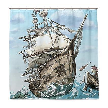 Amazon WBKCQB Unisex Pirate Boat Shower Curtain Waterproof