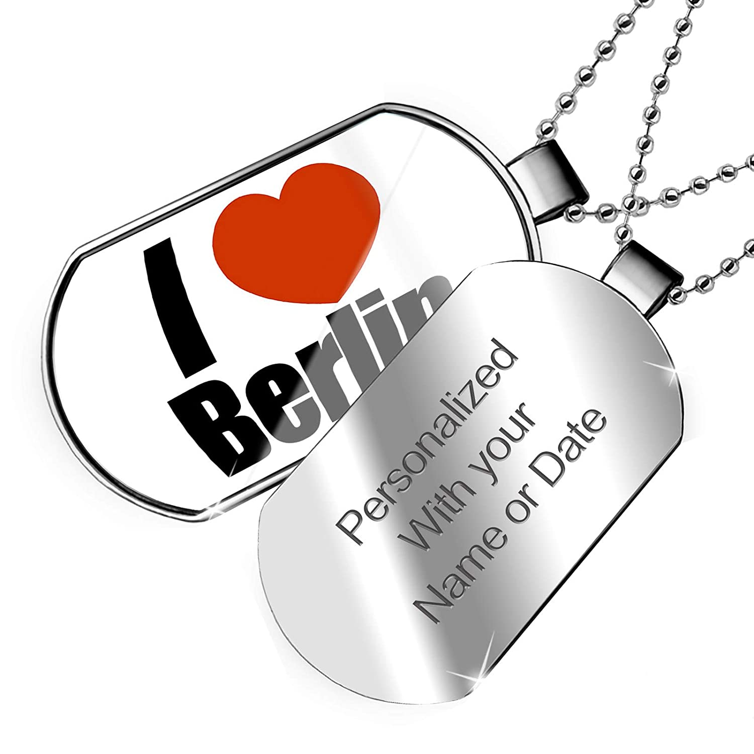 NEONBLOND Personalized Name Engraved I Love Berlin Region in Berlin Germany Dogtag Necklace