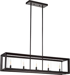 """JONATHAN Y JYL7414A Anna 38.5"""" 5-Light Metal/Glass Pendant, Oil Rubbed Bronze/Clear"""