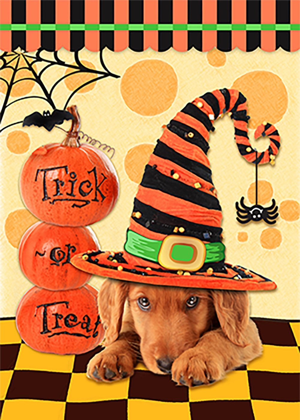 Morigins Happy Halloween Dog with Hat Decorative Trick or Treat Double Sided Pumpkin Outdoor Garden Flag 12.5 x 18 Inch