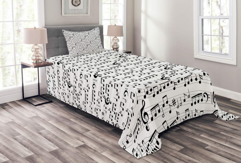 Ambesonne ミュージックベッドスプレッド 抽象的なスタイル プロフェッショナルミュージックパターン メモと記号付き シートプレイライティング 装飾キルトカバーセット 枕カバー付き ブラック ホワイト ツイン bed_12702_twin B07HM61YMS マルチ1 ツイン