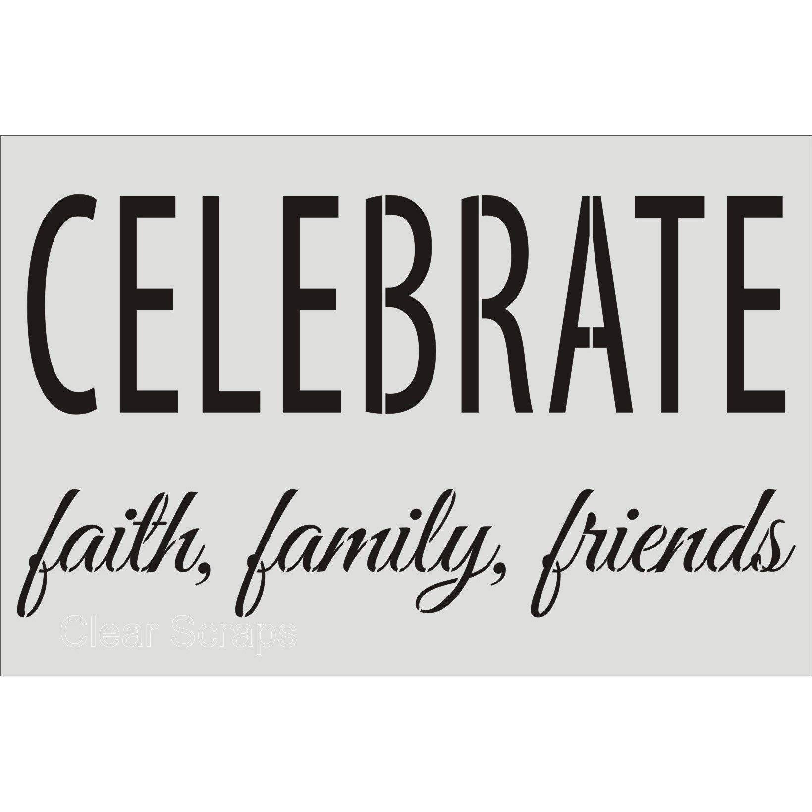 CLEARSNAP Clear Scraps CSSMWCELEBRATE24X36 Wall Stencils, 24'' x 36'', Celebrate, Clear by CLEARSNAP