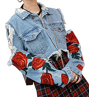 Otw Womens Rose Embroidery Distressed Denim Jacket Coat Crop Top At