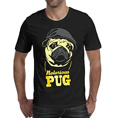 ded39907bab Ajoshms Notorious Pug Mens s Black 100% Cotton Short Sleeve t Shirt Funny  Breathable Tees
