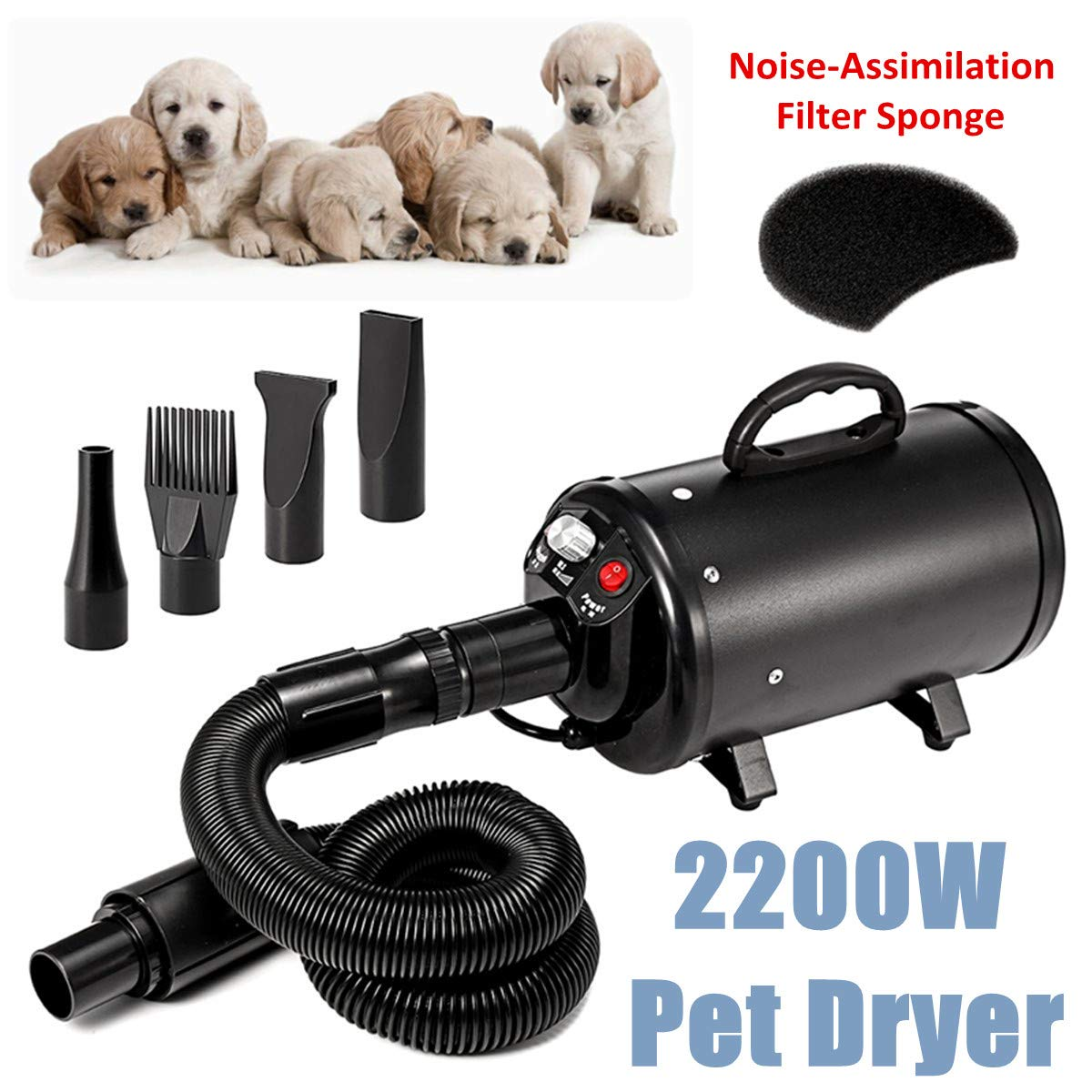 Dog Grooming Dryer Pet Dog Hair Dryers Blower Waterproof Low Noise Stepless Wind Speed 120V 2800W